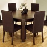 bold brown color wooden round dining room table for 6 set simple classic bold brown wooden chair natural color woodenfloor simple pot decoration