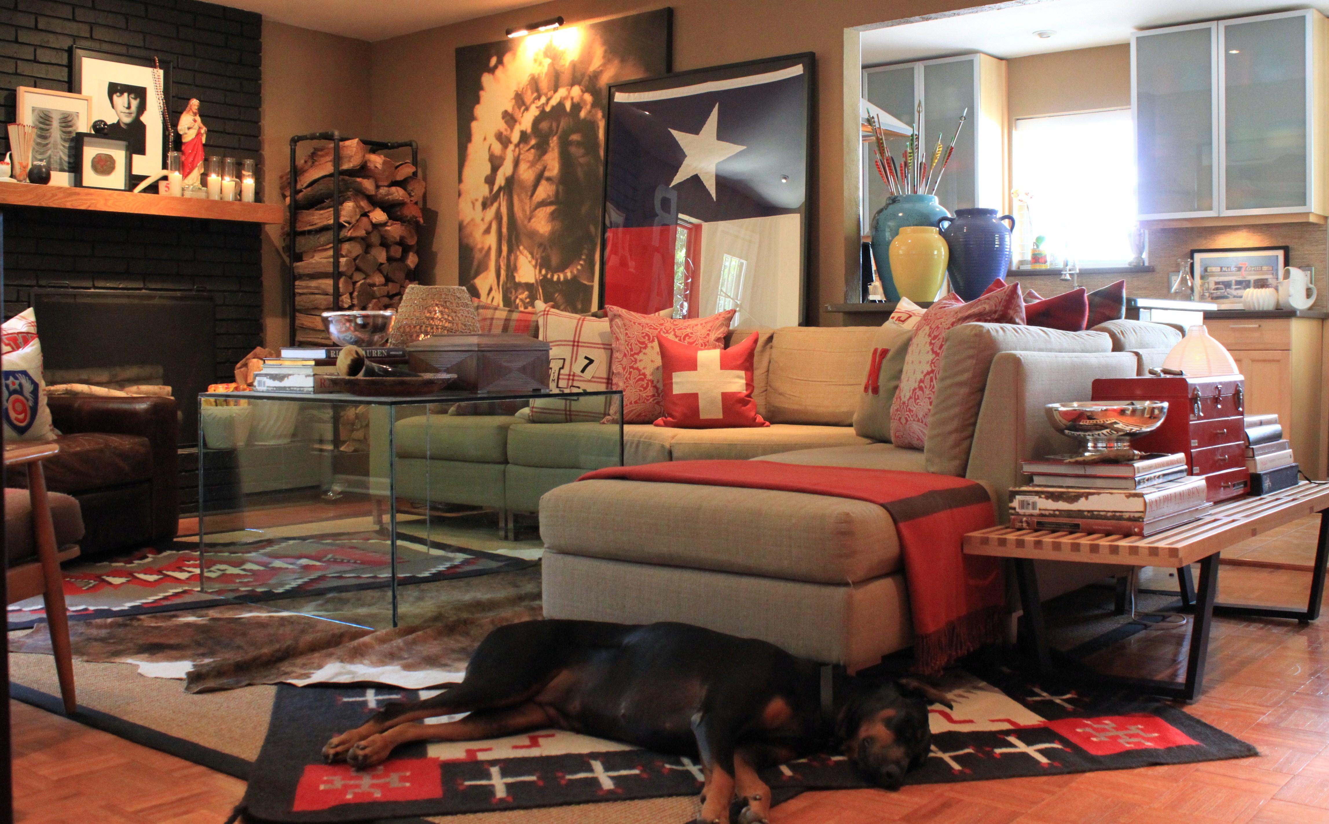 Books Table Sofa Pillows Dog Rug