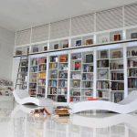bookshelf library chair books stairs