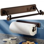 bronze modern paper towel holder for kitchen ideas mounted on wall installed on the kitchen with granite countertops