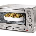 bronze tone stylish toaster oven idea with transparent door and double knobs adustment