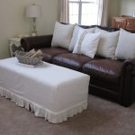 brown leather sofa with cushion and ottoman slip covers with ottoman slip covers plus vintage end table