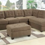 brown tufted 2 piece sectional sofa with chaise plus brown tufted ottoman coffee table together with white and grey rug plus white wooden side table
