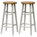 brown white wood bar stools in round shape with wallnut for simple and comfy kitchen bar