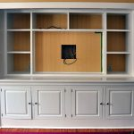 built in TV cabinet and racks in white