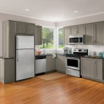 built in toaster oven beautiful clean modern kitchen wooden floor gray kitchen furniture