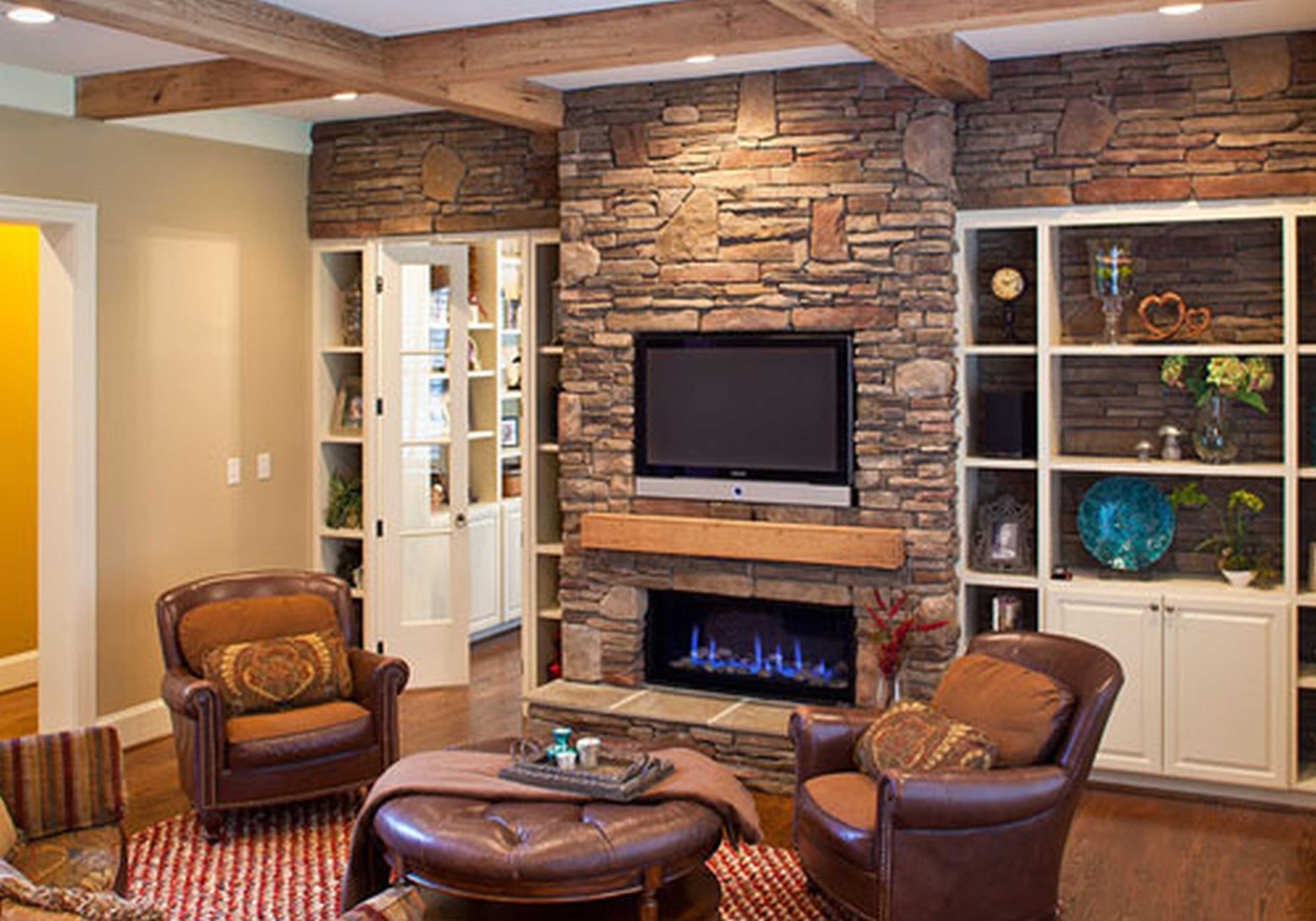 Family Living Room Stone Fireplace Ideas – HomesFeed