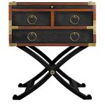 campaign side table in black and brown accent with wooden top completed with drawers and metal golden handles plus crossed legs in black metal