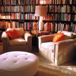 chairs pillows rug lamp books bookshelf library