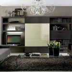 chandelier tv cabinet black sofa rug table