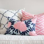 cheerfu light pink pillow with scandinavian pattern and black pink floral combination