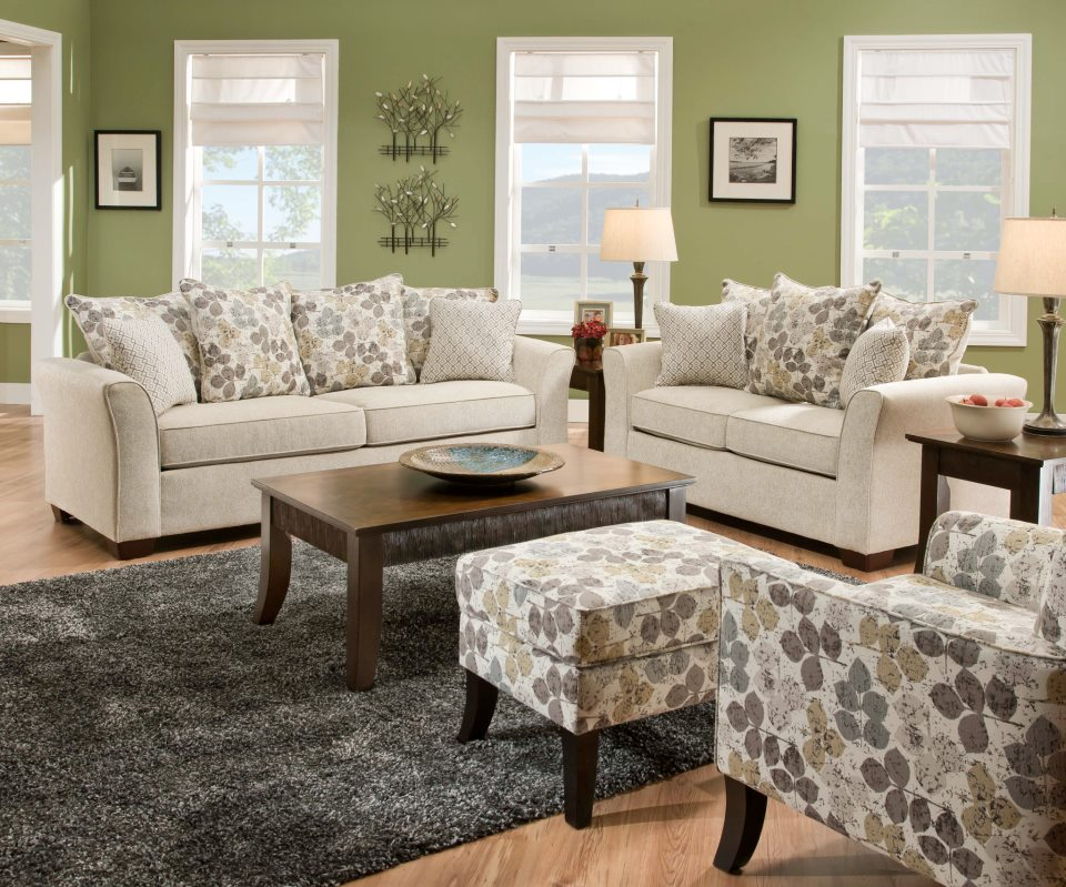 Color Your Living Room with Awe and Couch Loveseat Set for  : classi living room design with large glass windows and wall picture and patterned cream couch with loveseat set on black area rug from homesfeed.com size 960 x 799 jpeg 165kB