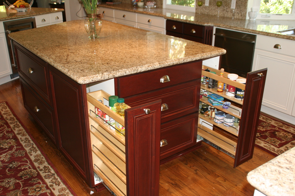 kitchen island with drawers and cabinets in drawer spice racks ideas for high comfortable cooking 9434