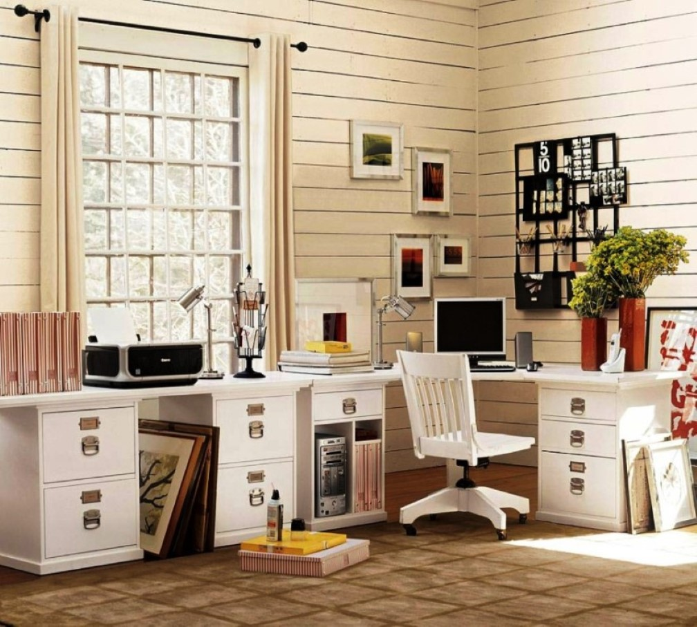 Home Desk Design Ideas: Office Room Improvement With Decorative File Cabinets