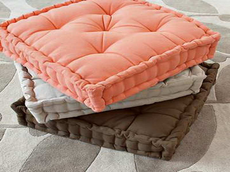 Cly And Matte Floor Pillows Ikea Design In Peach Gray Brown Color With Tuft Pattern