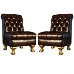classy brown leather slipper chair with tufted back and golden leg for the elegance of the living room