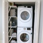 closet dryer washer clothes basket clother desk wood door