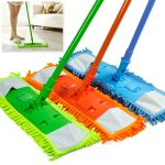 Colorful Modern And Simple Dust Mop For Wood Floor Idea In Orange Green And Blue Tone With Matching Sticks