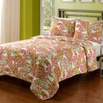 colorful tropical bedding set by sunham home fashion with ethnic patterned sheet and wooden floor and green painted wall and slim side table