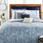 comforter white blue bed cover pillows wood frame