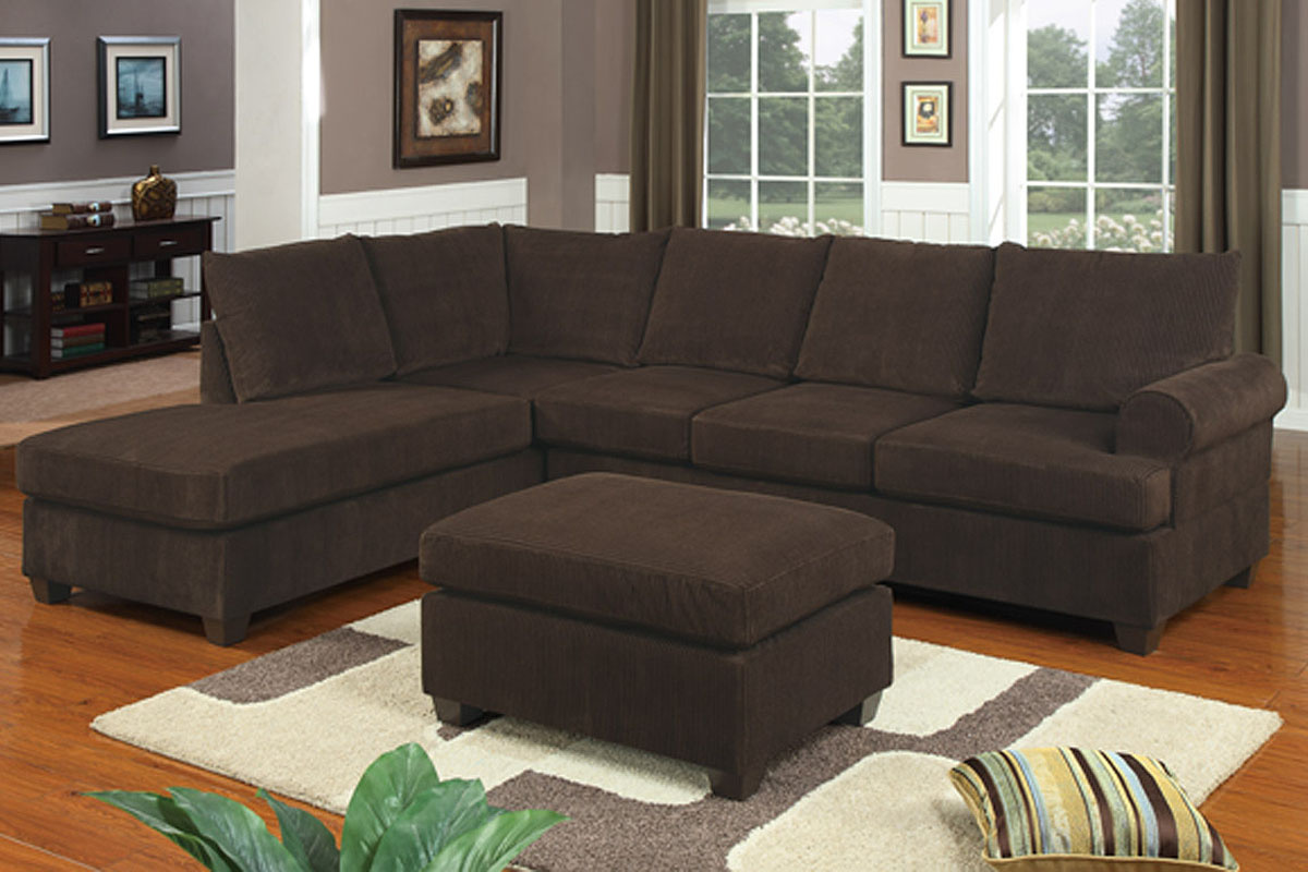 Comfy Brown 2 Piece Sectional Sofa With Chaise Featuring Ottoman Plus White And Grey Rug