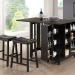 Compact Black Wooden Bar Table For Home Design With Racks For Table Ware And Black Leather Stools On Wooden Floor With Gray Wall And Open Plan