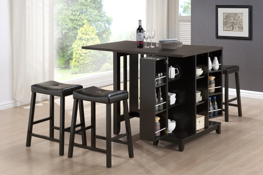 Compact Black Wooden Bar Table For Home Design With Racks Ware And Leather