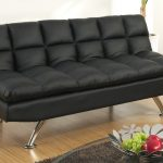 contemporary black leather twin size sofa sleeper for modern living space with natural wooden floor and grey fur rug