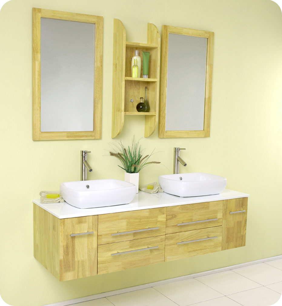Small bathroom vanities with vessel sinks to create cool and stylish vibes for your tiny bath for Small bathroom sinks with cabinets