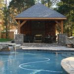 Cool Pool Cabana Plans In Modetn Design With Curved Swimming Pool And Living Space With Patio Chairs And Jacuzzi