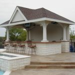 Cool Pool Cabana Plans  With Outdoor Kitchen And Some Comfy Iron Bar Chairs Plus Pleasant Pool Design