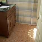 cork flooring in bathroom wooden black granite top bathroom cabinet smooth cream and blue curtain