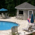 cozy cool pool cabana plans with curved swimming pool decorated with chaise lounge pool chair and bar stool plus living space and bar plus standing umbrellas