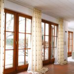 cream flower pattern curtain on stainless steel rod curtain for window covering for sliding glass door