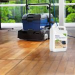 deep cleaning hardwood floors by using bona deep clean solution and bona cleaning machine