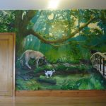 door chair wall mural