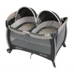 double small pack and play idea for twin with black canopy and plaid french pattern and gray dominant color and wheels
