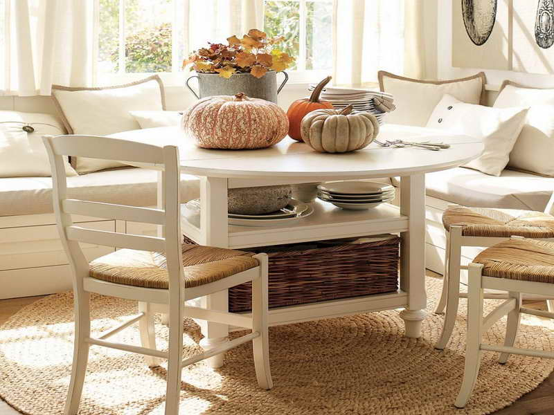 Dull White Corner Breakfast Nook Furniture With Pumpkins And Rattan Basket Dining Chairs On Cream