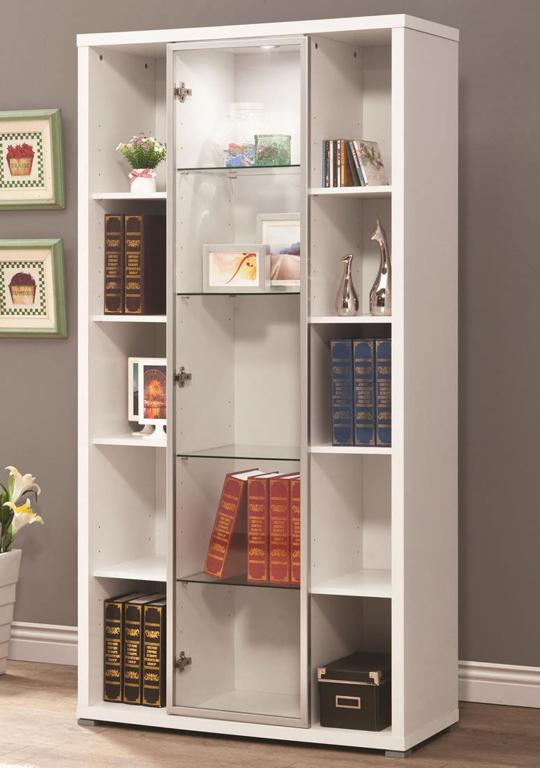 White Bookcase With Glass Door For Elgant Interior With