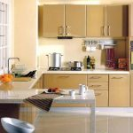 elegant cream pint color for kitchen idea with glass window and extended kitchen bar with white stool and modern set