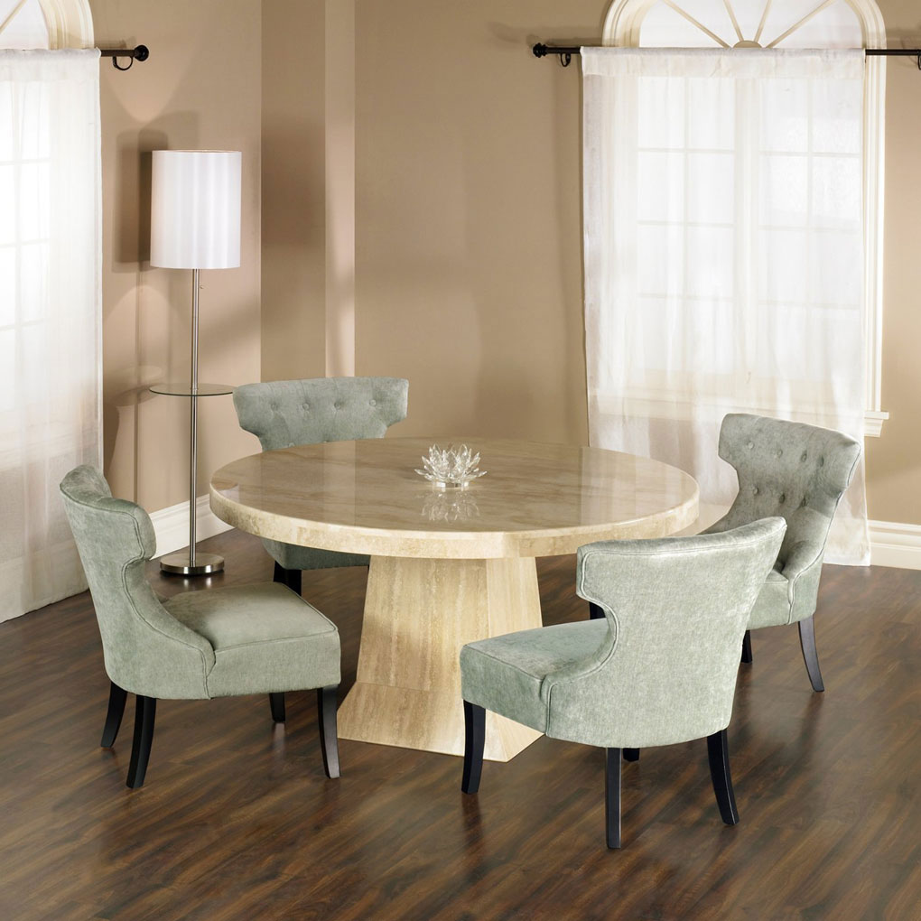 Elegant Natural Wooden Small Oval Dining Table With Gray Chair Decorative White Fake Flower