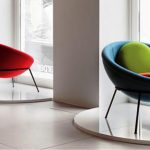 Elegant Vintage Papasn Chair Ikea Design In Blue And Red With Pink And Green Round Cushions In Open Plan Room