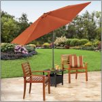 exotic wooden walmart patio chairs with stripe pattern accent pillow and orange umbrella and black small table