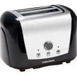 fashionable black toaster design with white accent and four knobs for adjustment