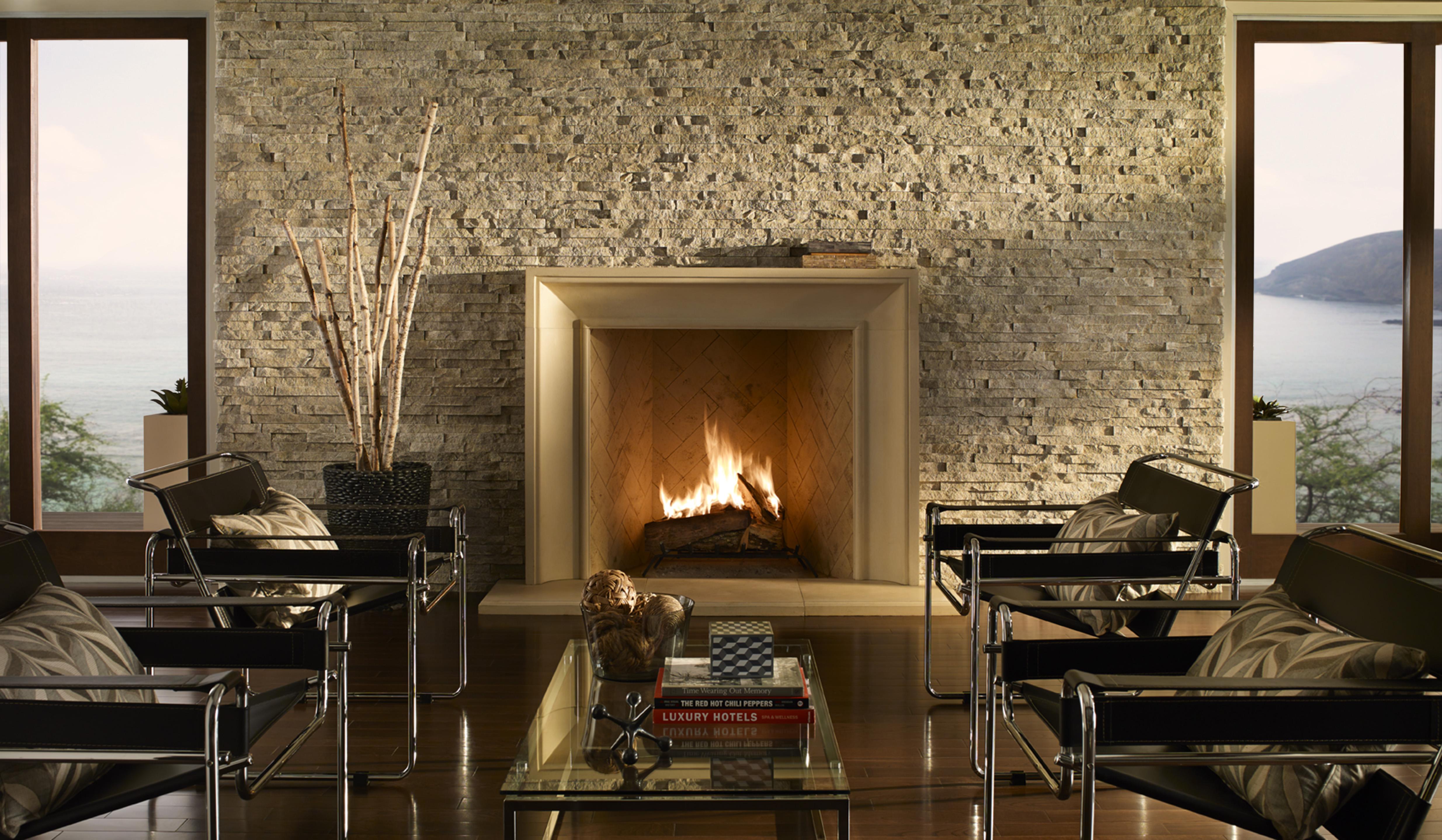 Family Living Room Stone Fireplace Ideas - HomesFeed