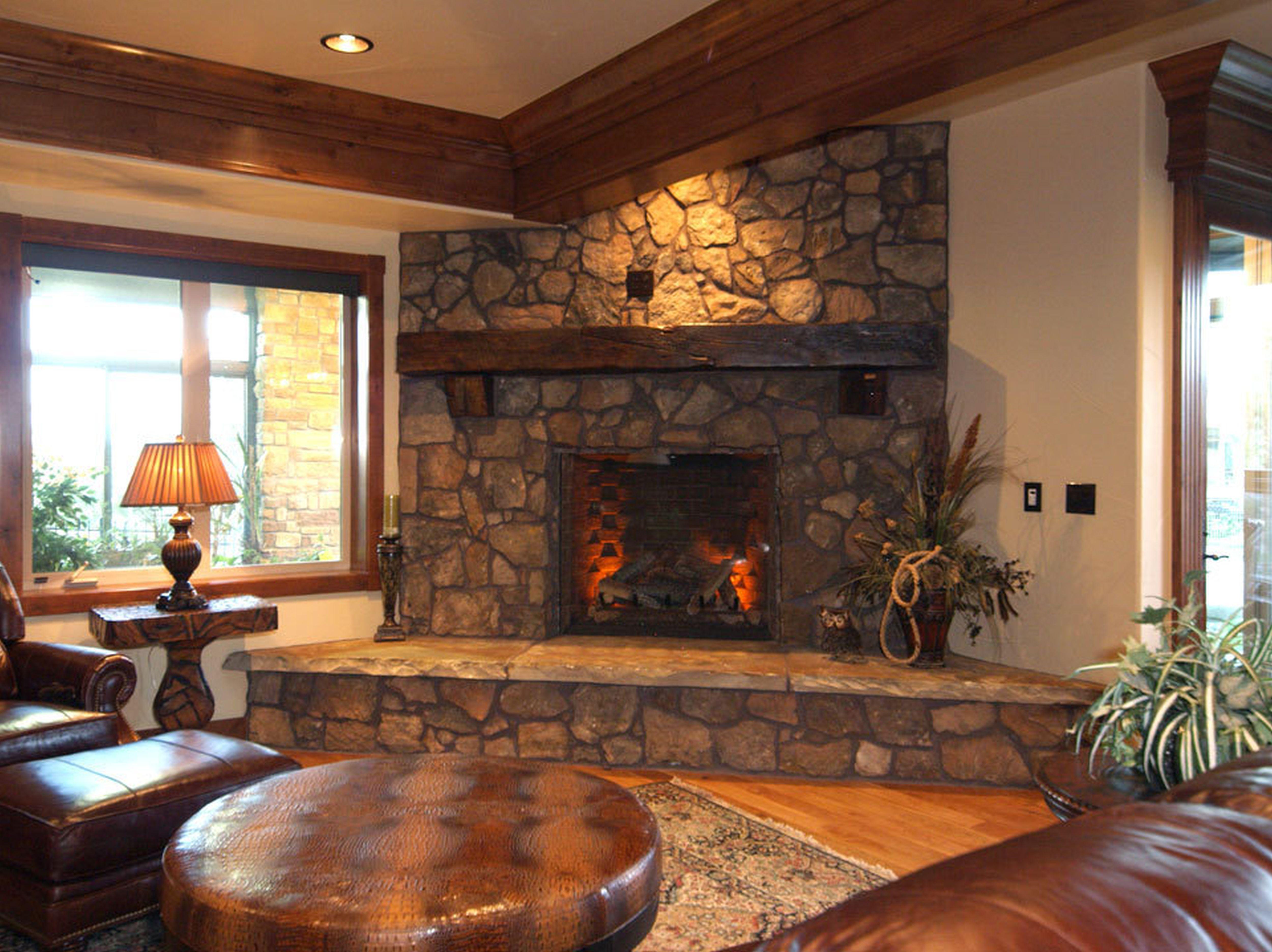 Fireplace Stone Lamp Chair Rug