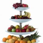 five storey tiered fruit stand idea made of melamin plates and stainless steel pole and fruits