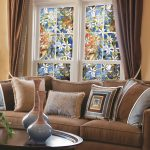 flowery stained glass windows for homes living room stained glass windows natural color modern living room smooth blue brown sofa smooth blue brown cushions etnic accent vases