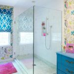frameless clear glass enclosed showers colorful motives feminine bathroom blue bathroom closet granite floor