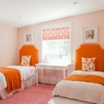 fresh cheerful orange twin headboard for girly bedroom orange blanket pinky carpet soft pink walls white furniture